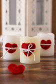 Red handmade crochet heart for candle for Saint Valentine's day — 图库照片