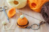 Handmade colorful crochet toys sweets — Stock Photo