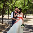 European bride and groom kissing in the park — Stock Photo #52969271