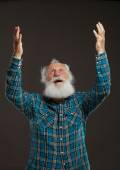 Old man with a long beard with big smile — Stock Photo