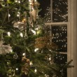Christmas tree casting reflection in panes of glass — Stock Photo #61463991