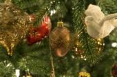 Christmas ornaments hanging on tree — Stock Photo