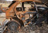Bil förstördes av brand — Stockfoto