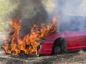Car on fire — Stock Photo