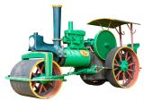 Old Steamroller on white background. — Stock Photo