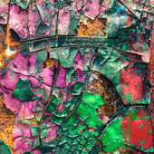 Colorful of cracked and peeling paint on the old car — Stock Photo