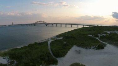 Ocean Bay and Bridge at Magic Hour — Stock Video