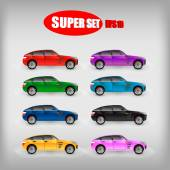 Set of colored sports cars — Stock Vector