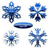 Snowflakes set. chromed metal snowflakes — Stock Vector