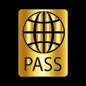 Gold passport icon — Stock vektor