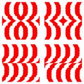 Semicircular red stripes — Stock Vector