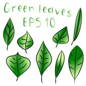 Vector illustration of ecology concept with glossy green leaves — Stockvektor