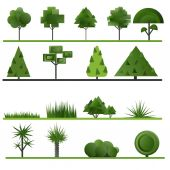 Set of abstract trees, shrubs, grass on a white background. — Stock Vector
