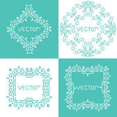 Floral outline frames and borders. Monogram mono line style. Vector design element. — Stock Vector