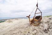Backhoe on mine excavator in sand quarry  — Stock Photo