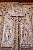 Detail of wooden door on Cocos Monastery, Dobrogea , Romania — Stock Photo