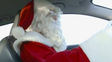Santa Driving — Stock Video