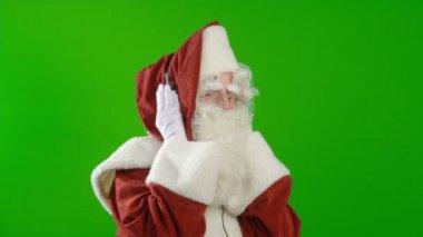 Santa Claus with Headphones — Stock Video
