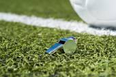 Whistle and Soccer Ball — Stock Photo