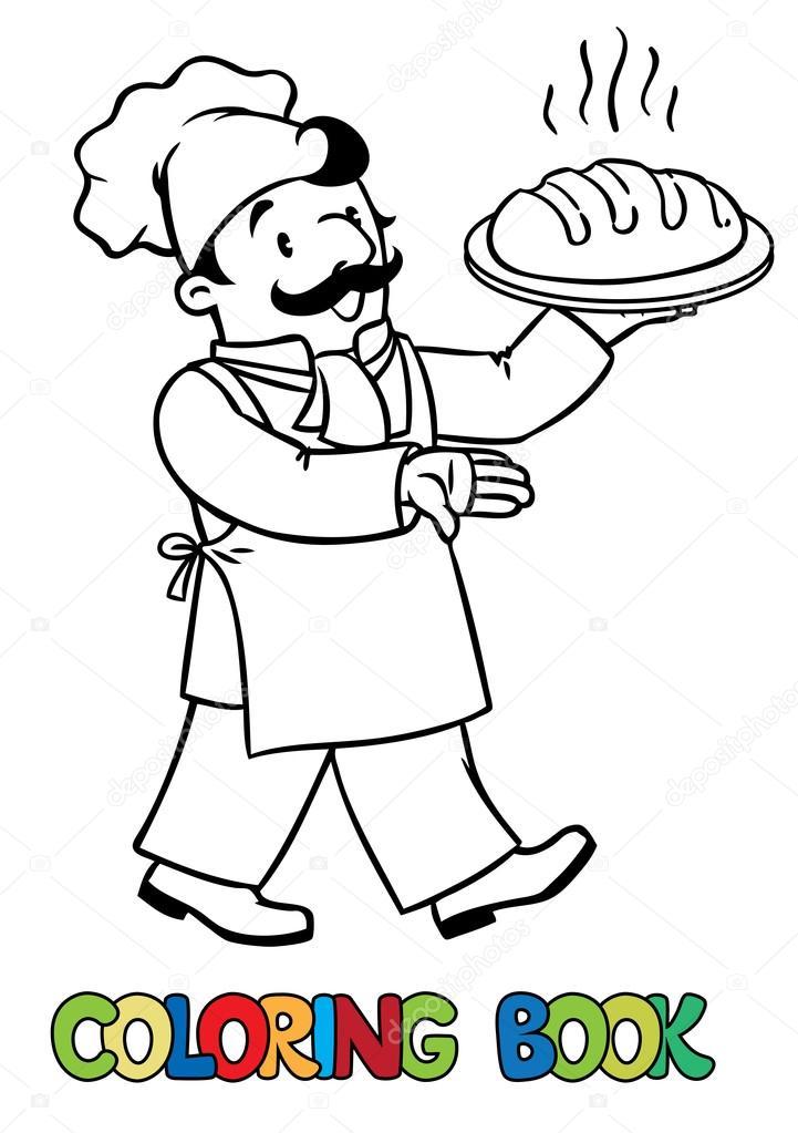 libro de colorear divertido cocinero o panadero con pan