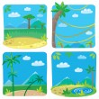 Set of four funny simple nature background. — Stock Vector #51809359