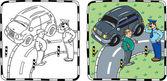 Policeman and car driver. Coloring book — Stock Vector