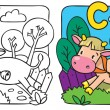 Little cow or calf coloring book. Alphabet C — Stock Vector #57108335
