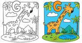キリンの塗り絵。アルファベット G — ストックベクタ