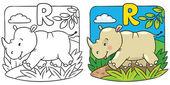 Little rhino coloring book. Alphabet R — Stock Vector