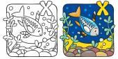 X-ray fish coloring book. Alphabet X — Stockvector