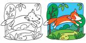 Little red fox coloring book — Stockvektor