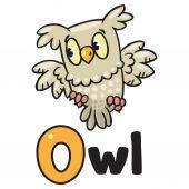 Little owl for ABC. Alphabet O — ストックベクタ
