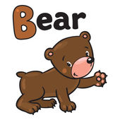 Little funny bear, for ABC. Alphabet B — Vetor de Stock