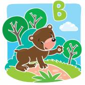 Funny little teddy bear. Alphabet B — Stock Vector
