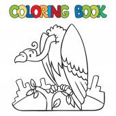Coloring book of funny vulture — Stock Vector