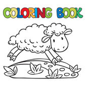 Coloring book of little funny sheep — 图库矢量图片