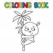 Coloring book of little panda on bamboo — Vecteur