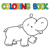 Coloring book of little funny hippo — Stock Vector