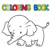 Coloring book of little funny elephant or jumbo — Vector de stock
