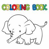 Coloring book of little funny elephant or jumbo — Cтоковый вектор