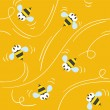 Seamless pattern with funny bees — Vecteur #63490287
