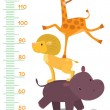Постер, плакат: Meter wall or height meter with funny animals