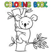 Coloring book with funny koala — Stok Vektör