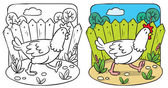 Funny  chicken coloring book. — Stock Vector