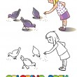 Girl feeding pigeons. Coloring book — Stock Vector #74755107