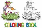 Mädchen, die Blumen gießen. Malbuch — Stockvektor