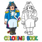 Sad general or officer. Coloring book — Stock Vector