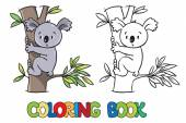 Coloring book with funny koala — Stock Vector
