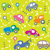 Cars on the road. Seamless pattern. — Stock Vector