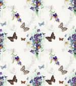 Seamless pattern of violets. Bouquet of  violets. — Stok fotoğraf